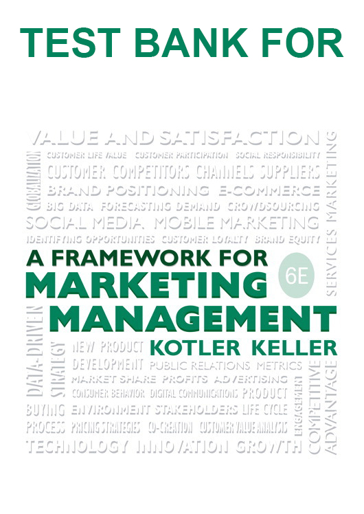 Test Bank for Framework for Marketing Management 6th Edition